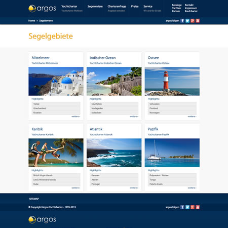 Argos Yachtcharter Website - Sailing Areas