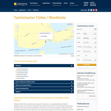 Argos Yachtcharter Website - Turkey
