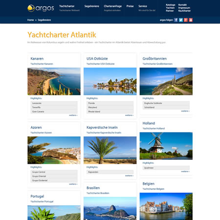 Argos Yachtcharter Website - Atlantic Sailing