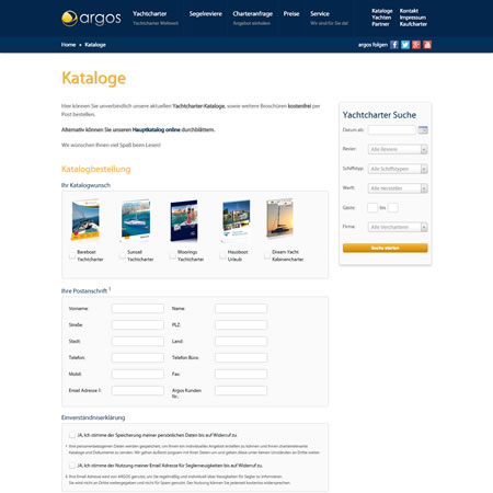 Argos Yachtcharter Website - Download Catalogue