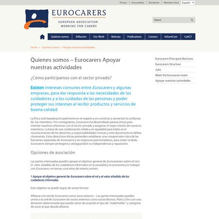 Eurocarers Website - Spanish Page