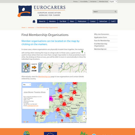 Eurocarers Website - Google Maps