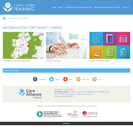 Family Carer Training - Information Landing Page